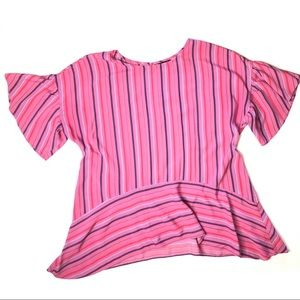 A.N.A Striped Flutter Sleeve Crew Neck Top